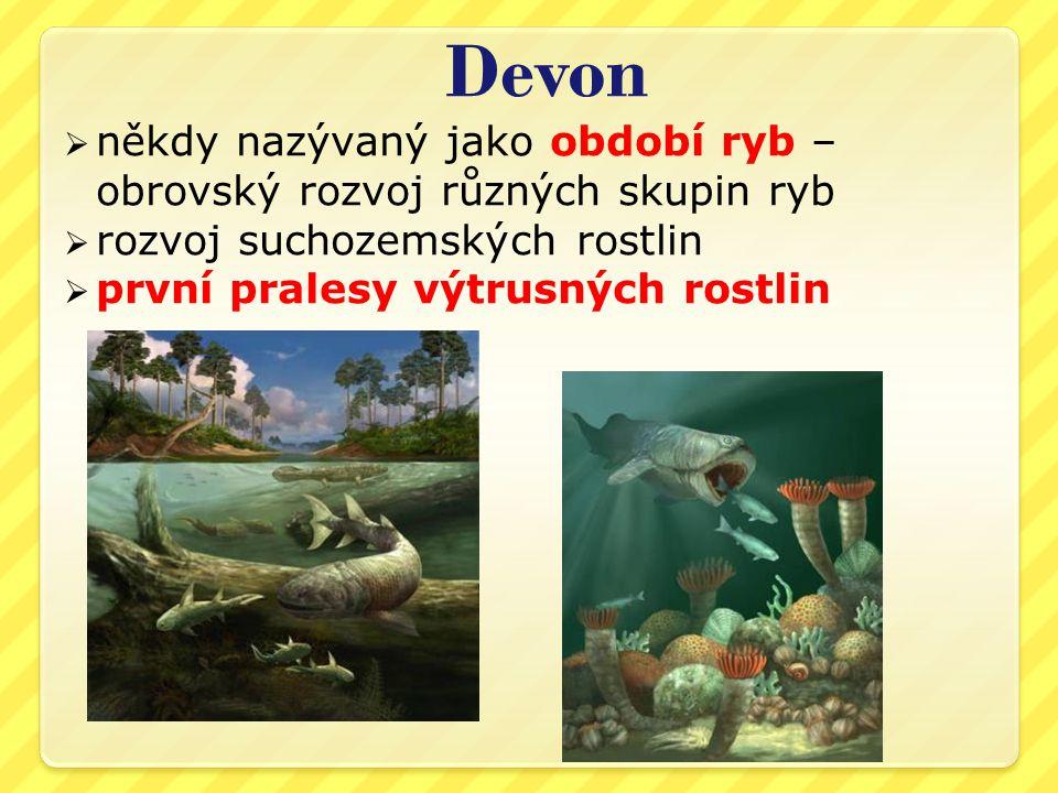 Devon  někdy nazývaný jako období ryb – obrovský rozvoj různých skupin ryb  rozvoj suchozemských rostlin  první pralesy výtrusných rostlin
