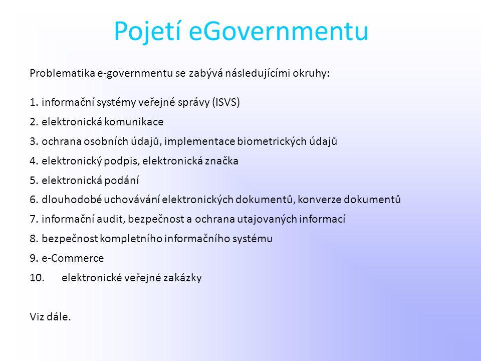 Pojetí eGovernmentu Problematika e-governmentu se zabývá následujícími okruhy: 1. informační systémy veřejné správy (ISVS) 2. elektronická komunikace