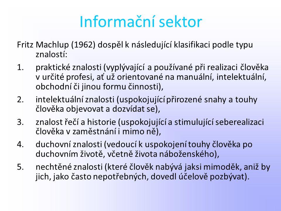 Informační sektor Fritz Machlup (1962) dospěl k následující klasifikaci podle typu znalostí: 1.praktické znalosti (vyplývající a používané při realiza