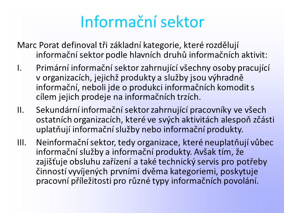Informační sektor Marc Porat definoval tři základní kategorie, které rozdělují informační sektor podle hlavních druhů informačních aktivit: I.Primární