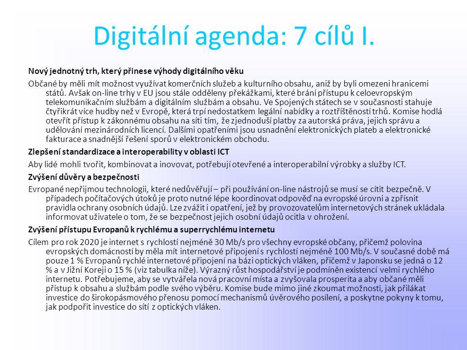Digitální agenda: 7 cílů I. Nový jednotný trh, který přinese výhody digitálního věku Občané by měli mít možnost využívat komerčních služeb a kulturníh