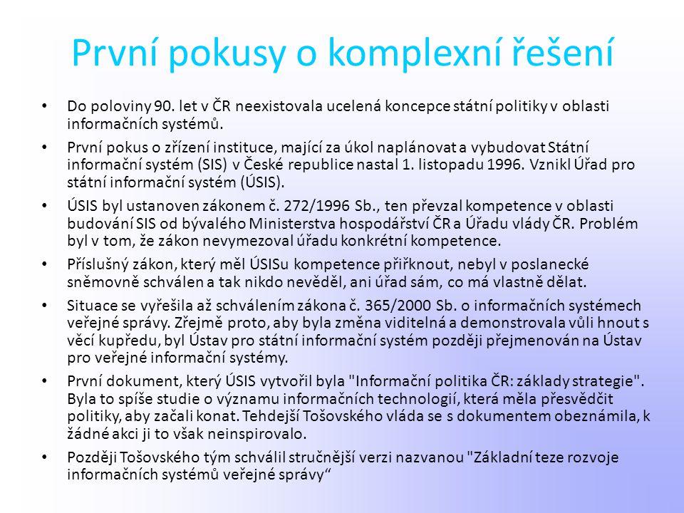 První pokusy o komplexní řešení Do poloviny 90. let v ČR neexistovala ucelená koncepce státní politiky v oblasti informačních systémů. První pokus o z
