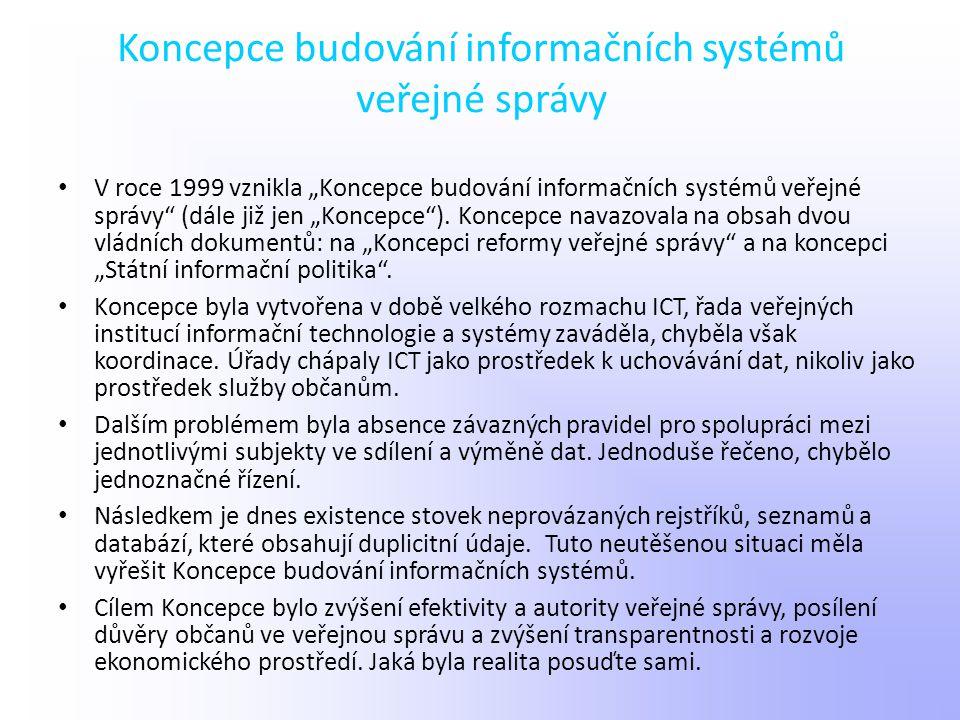 """Koncepce budování informačních systémů veřejné správy V roce 1999 vznikla """"Koncepce budování informačních systémů veřejné správy"""" (dále již jen """"Konce"""