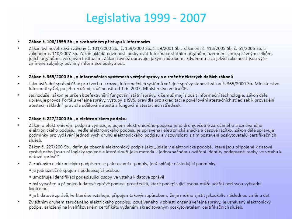 Legislativa 1999 - 2007 Zákon č. 106/1999 Sb., o svobodném přístupu k informacím Zákon byl novelizován zákony č. 101/2000 Sb., č. 159/2000 Sb.,č. 39/2