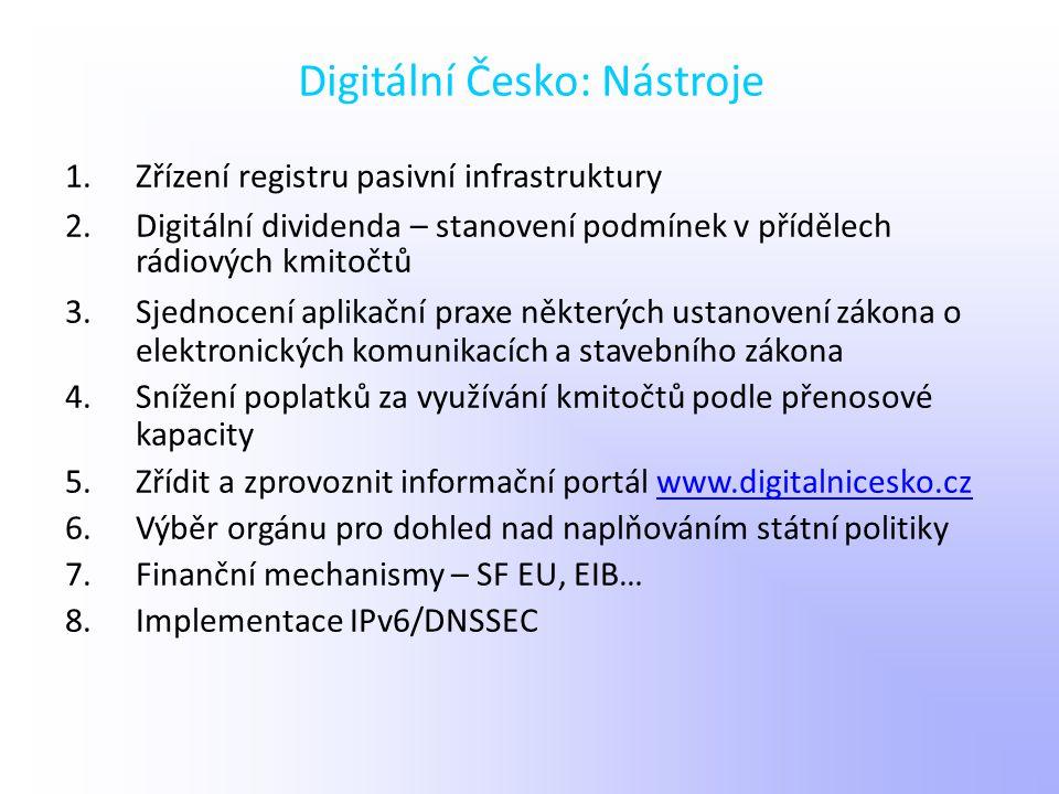 Digitální Česko: Nástroje 1.Zřízení registru pasivní infrastruktury 2.Digitální dividenda – stanovení podmínek v přídělech rádiových kmitočtů 3.Sjedno