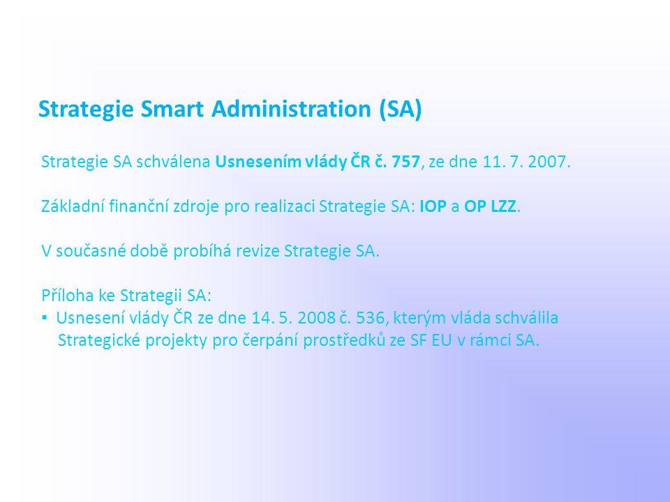 Strategie SA schválena Usnesením vlády ČR č. 757, ze dne 11. 7. 2007. Základní finanční zdroje pro realizaci Strategie SA: IOP a OP LZZ. V současné do