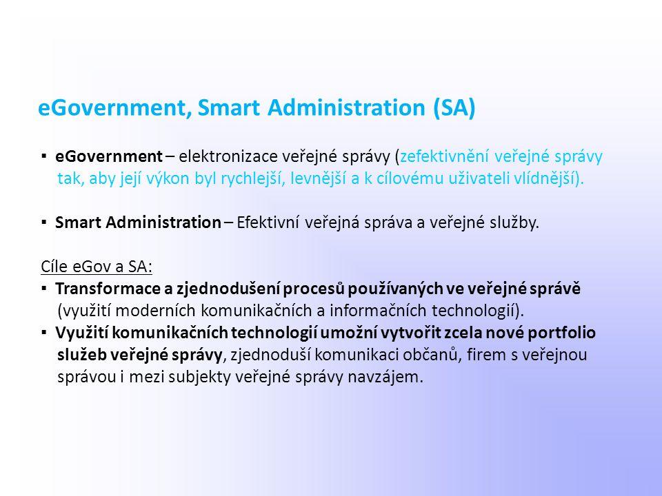 ▪ eGovernment – elektronizace veřejné správy (zefektivnění veřejné správy tak, aby její výkon byl rychlejší, levnější a k cílovému uživateli vlídnější
