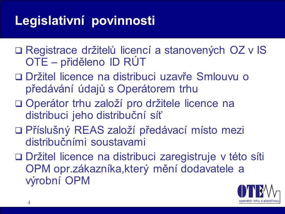 4 Legislativní povinnosti  Registrace držitelů licencí a stanovených OZ v IS OTE – přiděleno ID RÚT  Držitel licence na distribuci uzavře Smlouvu o předávání údajů s Operátorem trhu  Operátor trhu založí pro držitele licence na distribuci jeho distribuční síť  Příslušný REAS založí předávací místo mezi distribučními soustavami  Držitel licence na distribuci zaregistruje v této síti OPM opr.zákazníka,který mění dodavatele a výrobní OPM