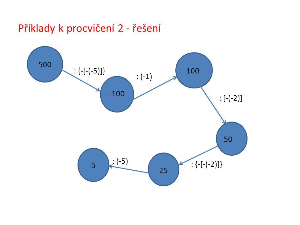 Příklady k procvičení 2 - řešení 500 : {-[-(-5)]} : (-1) : [-(-2)] : {-[-(-2)]} : (-5) -100 100 50 -25 5