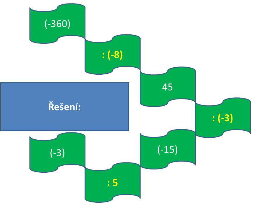 : 5 (-15) (-360) : (-8) : (-3) 45 (-3) Řešení: