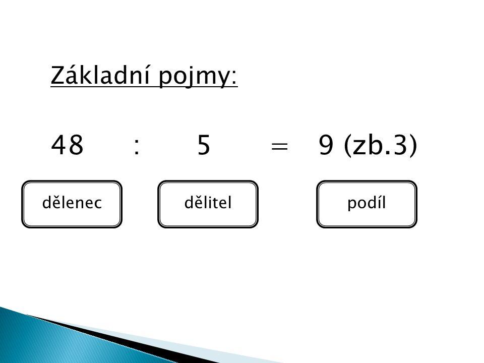 Základní pojmy: 48 : 5 = 9 (zb.3) dělenecdělitelpodíl