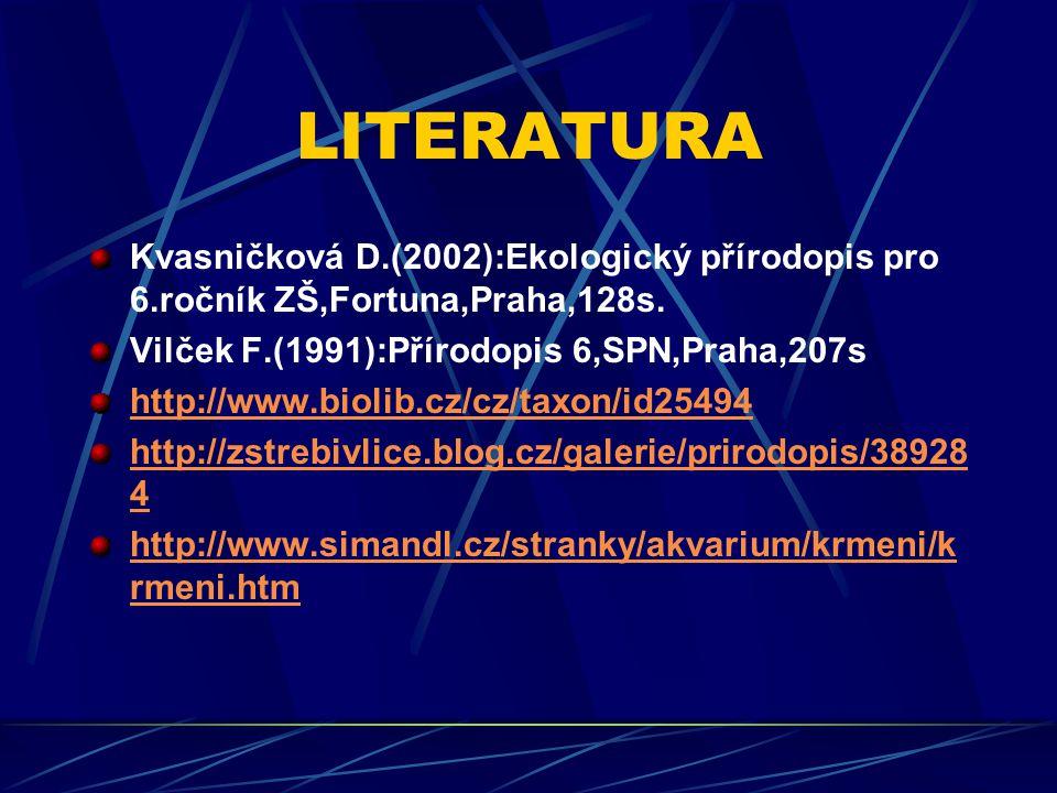 LITERATURA Kvasničková D.(2002):Ekologický přírodopis pro 6.ročník ZŠ,Fortuna,Praha,128s.