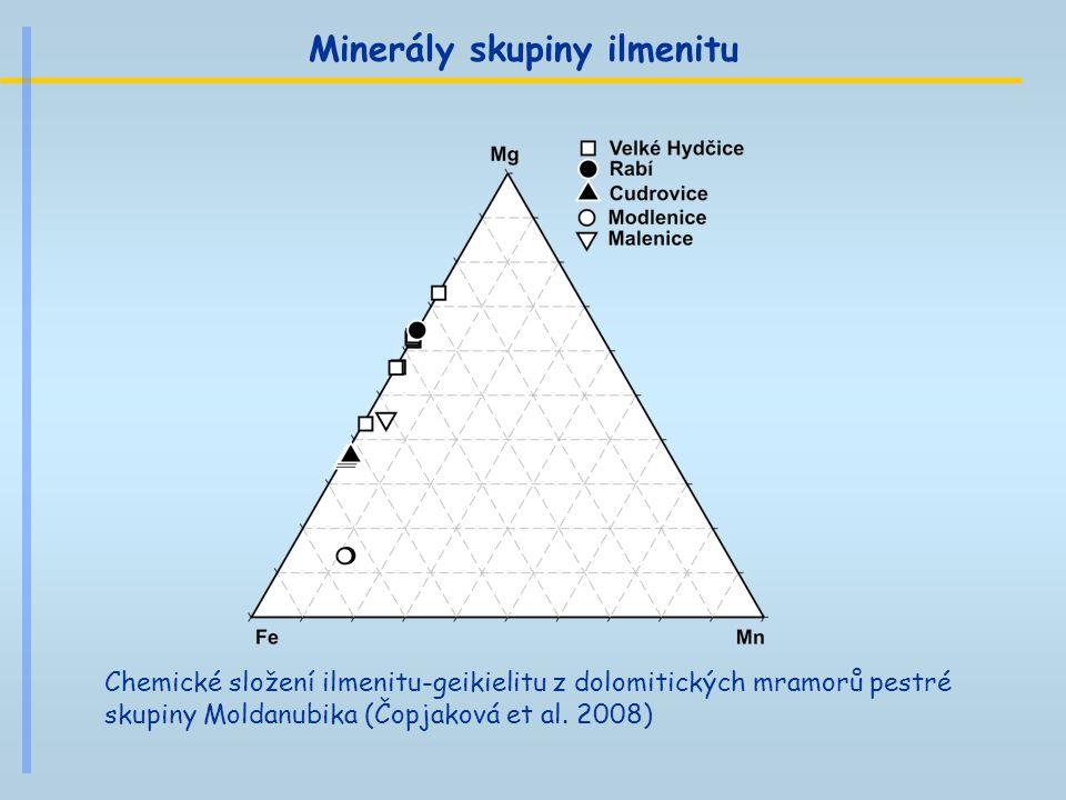 Minerály skupiny ilmenitu Chemické složení ilmenitu-geikielitu z dolomitických mramorů pestré skupiny Moldanubika (Čopjaková et al. 2008)