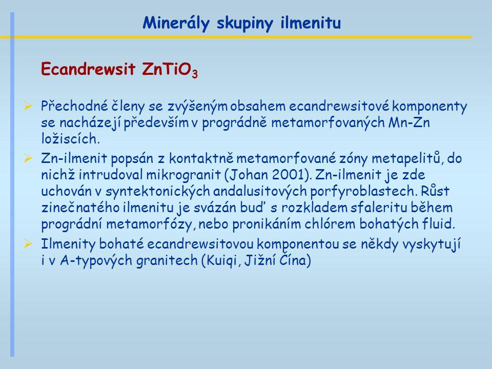 Minerály skupiny ilmenitu Ecandrewsit ZnTiO 3  Přechodné členy se zvýšeným obsahem ecandrewsitové komponenty se nacházejí především v prográdně metam