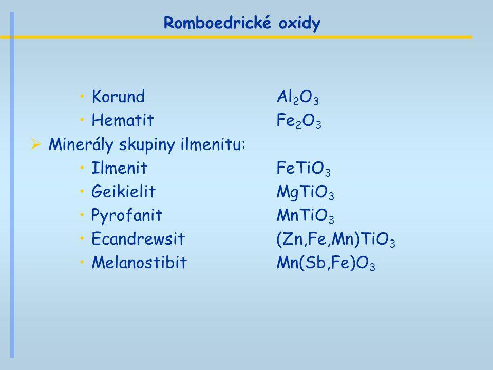 Romboedrické oxidy Korund Al 2 O 3 Hematit Fe 2 O 3  Minerály skupiny ilmenitu: Ilmenit FeTiO 3 Geikielit MgTiO 3 Pyrofanit MnTiO 3 Ecandrewsit (Zn,F