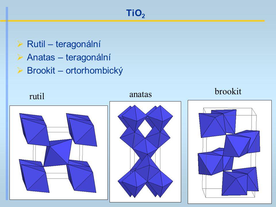TiO 2  Rutil – teragonální  Anatas – teragonální  Brookit – ortorhombický rutil anatas brookit