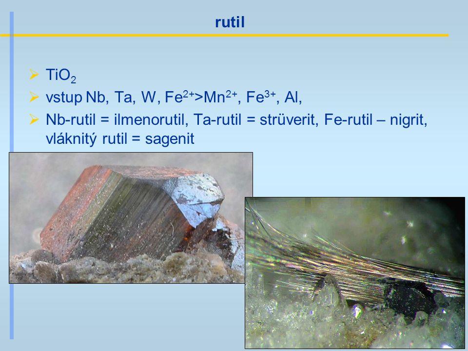 rutil  TiO 2  vstup Nb, Ta, W, Fe 2+ >Mn 2+, Fe 3+, Al,  Nb-rutil = ilmenorutil, Ta-rutil = strüverit, Fe-rutil – nigrit, vláknitý rutil = sagenit