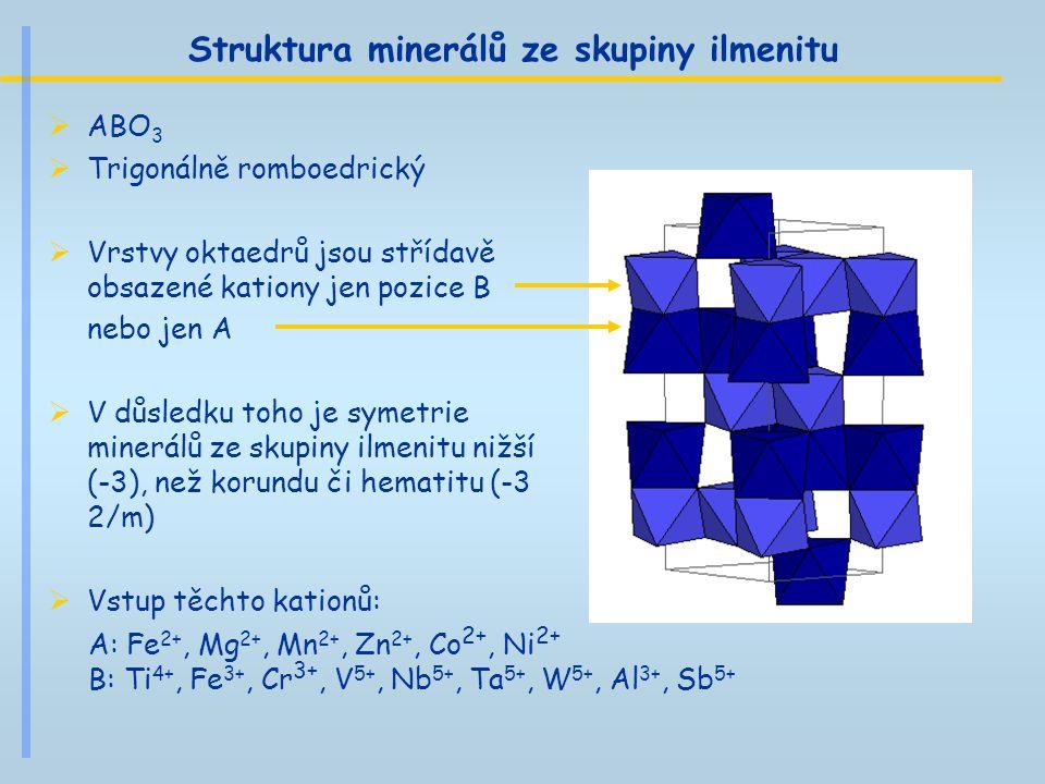 Struktura minerálů ze skupiny ilmenitu  ABO 3  Trigonálně romboedrický  Vrstvy oktaedrů jsou střídavě obsazené kationy jen pozice B nebo jen A  V