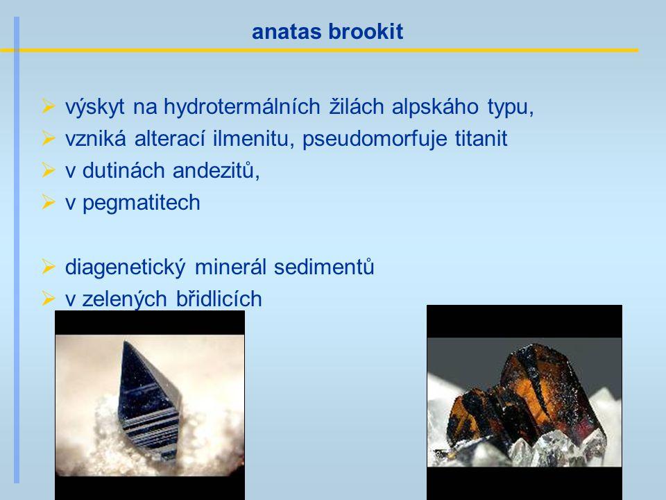 anatas brookit  výskyt na hydrotermálních žilách alpskáho typu,  vzniká alterací ilmenitu, pseudomorfuje titanit  v dutinách andezitů,  v pegmatit