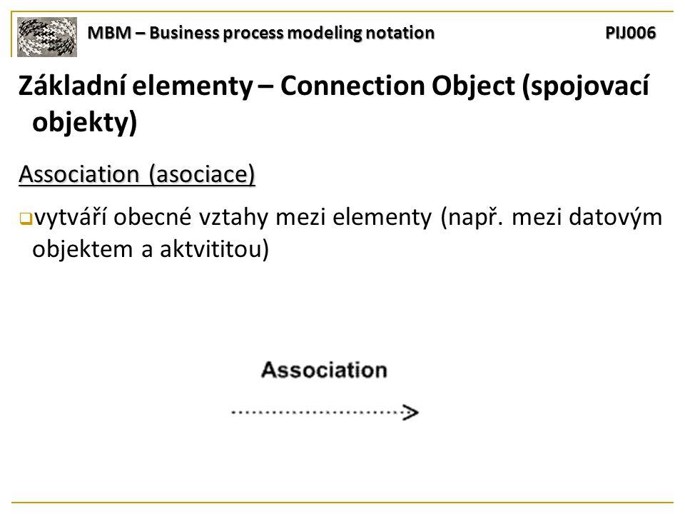 MBM – Business process modeling notation PIJ006 Základní elementy – Connection Object (spojovací objekty) Association (asociace)  vytváří obecné vztahy mezi elementy (např.