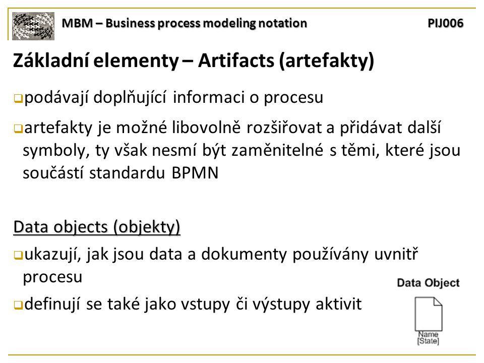 MBM – Business process modeling notation PIJ006 Základní elementy – Artifacts (artefakty)  podávají doplňující informaci o procesu  artefakty je možné libovolně rozšiřovat a přidávat další symboly, ty však nesmí být zaměnitelné s těmi, které jsou součástí standardu BPMN Data objects (objekty)  ukazují, jak jsou data a dokumenty používány uvnitř procesu  definují se také jako vstupy či výstupy aktivit
