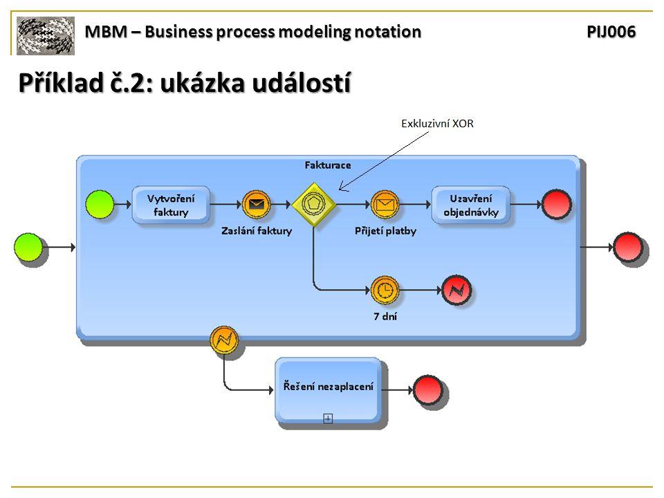 MBM – Business process modeling notation PIJ006 Příklad č.2: ukázka událostí