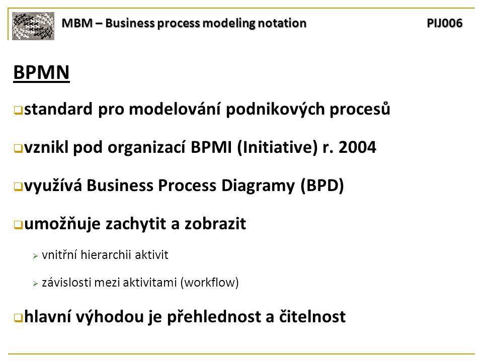 MBM – Business process modeling notation PIJ006 BPMN  standard pro modelování podnikových procesů  vznikl pod organizací BPMI (Initiative) r.