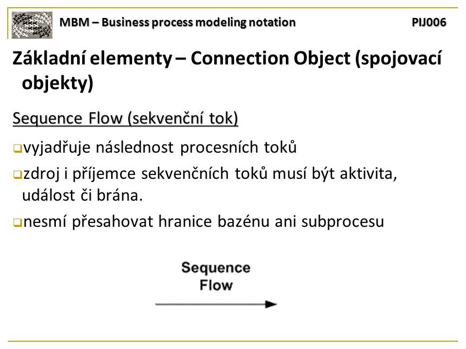 MBM – Business process modeling notation PIJ006 Základní elementy – Connection Object (spojovací objekty) Sequence Flow (sekvenční tok)  vyjadřuje následnost procesních toků  zdroj i příjemce sekvenčních toků musí být aktivita, událost či brána.