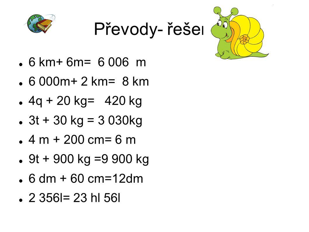 Převody- řešení 6 km+ 6m= 6 006 m 6 000m+ 2 km= 8 km 4q + 20 kg= 420 kg 3t + 30 kg = 3 030kg 4 m + 200 cm= 6 m 9t + 900 kg =9 900 kg 6 dm + 60 cm=12dm 2 356l= 23 hl 56l
