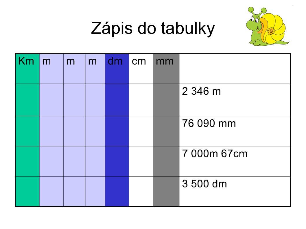 Zápis do tabulky Kmmmmdmcmmm 2 346 m 76 090 mm 7 000m 67cm 3 500 dm