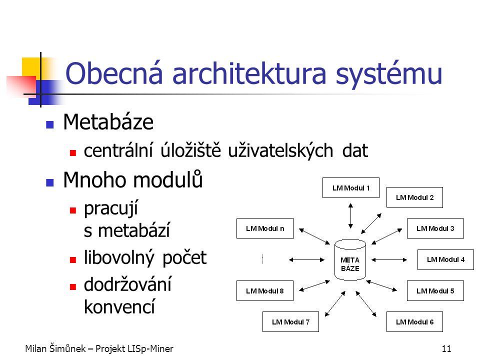 Milan Šimůnek – Projekt LISp-Miner11 Obecná architektura systému Metabáze centrální úložiště uživatelských dat Mnoho modulů pracují s metabází libovolný počet dodržování konvencí