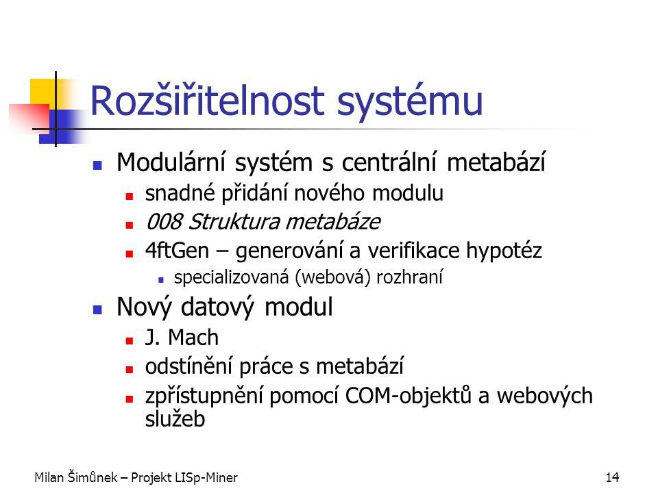Milan Šimůnek – Projekt LISp-Miner14 Rozšiřitelnost systému Modulární systém s centrální metabází snadné přidání nového modulu 008 Struktura metabáze 4ftGen – generování a verifikace hypotéz specializovaná (webová) rozhraní Nový datový modul J.