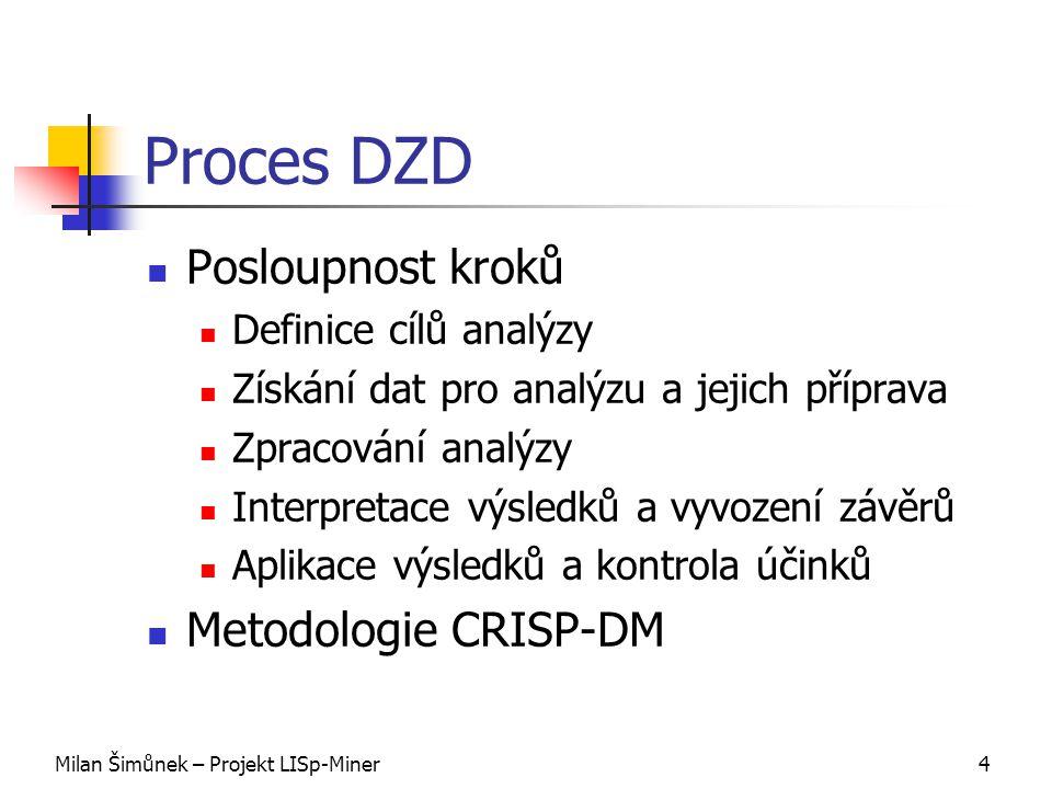 Milan Šimůnek – Projekt LISp-Miner4 Proces DZD Posloupnost kroků Definice cílů analýzy Získání dat pro analýzu a jejich příprava Zpracování analýzy Interpretace výsledků a vyvození závěrů Aplikace výsledků a kontrola účinků Metodologie CRISP-DM