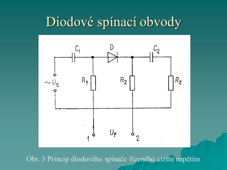 Diodové spínací obvody Obr. 3 Princip diodového spínače řízeného cizím napětím