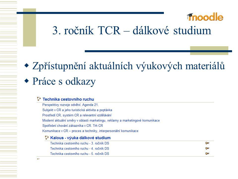 3. ročník TCR – dálkové studium  Zpřístupnění aktuálních výukových materiálů  Práce s odkazy