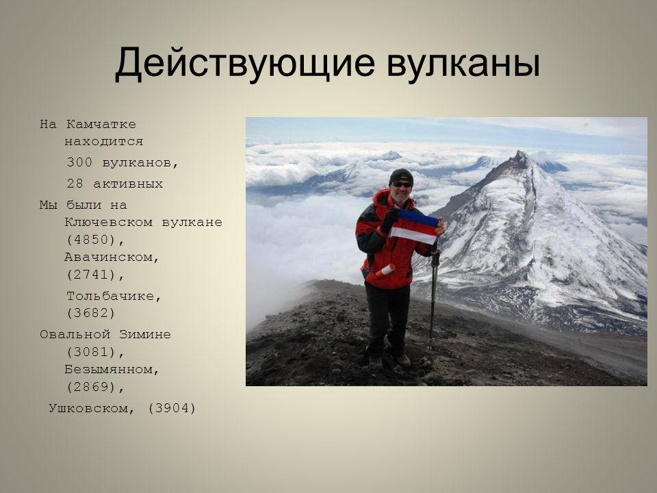 Действующие вулканы На Камчатке находится 300 вулканов, 28 активных Мы были на Ключевском вулкане (4850), Авачинском, (2741), Тольбачике, (3682) Овальной Зимине (3081), Безымянном, (2869), Ушковском, (3904)