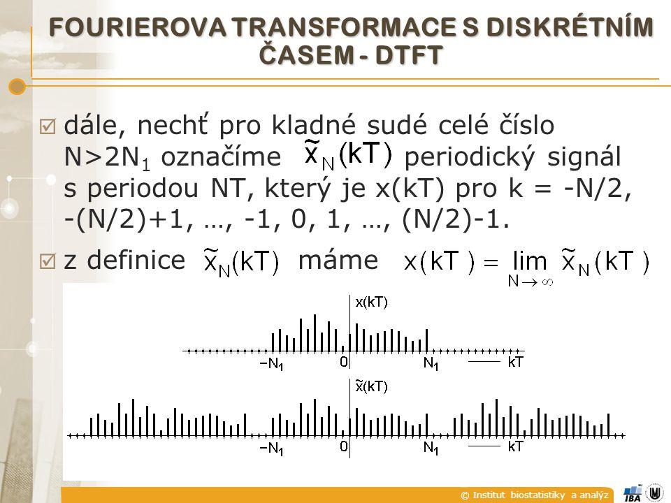 © Institut biostatistiky a analýz  dále, nechť pro kladné sudé celé číslo N>2N 1 označíme periodický signál s periodou NT, který je x(kT) pro k = -N/