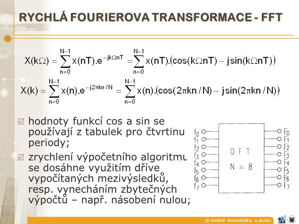 © Institut biostatistiky a analýz  hodnoty funkcí cos a sin se používají z tabulek pro čtvrtinu periody;  zrychlení výpočetního algoritmu se dosáhne