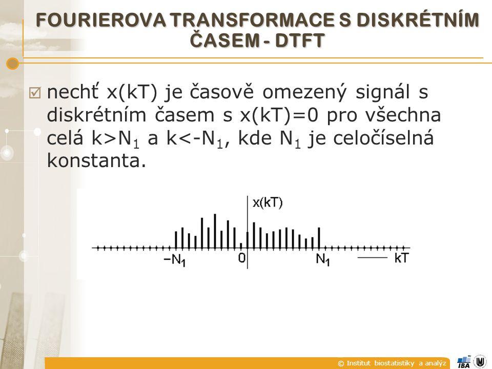 © Institut biostatistiky a analýz  nechť x(kT) je časově omezený signál s diskrétním časem s x(kT)=0 pro všechna celá k>N 1 a k<-N 1, kde N 1 je celo