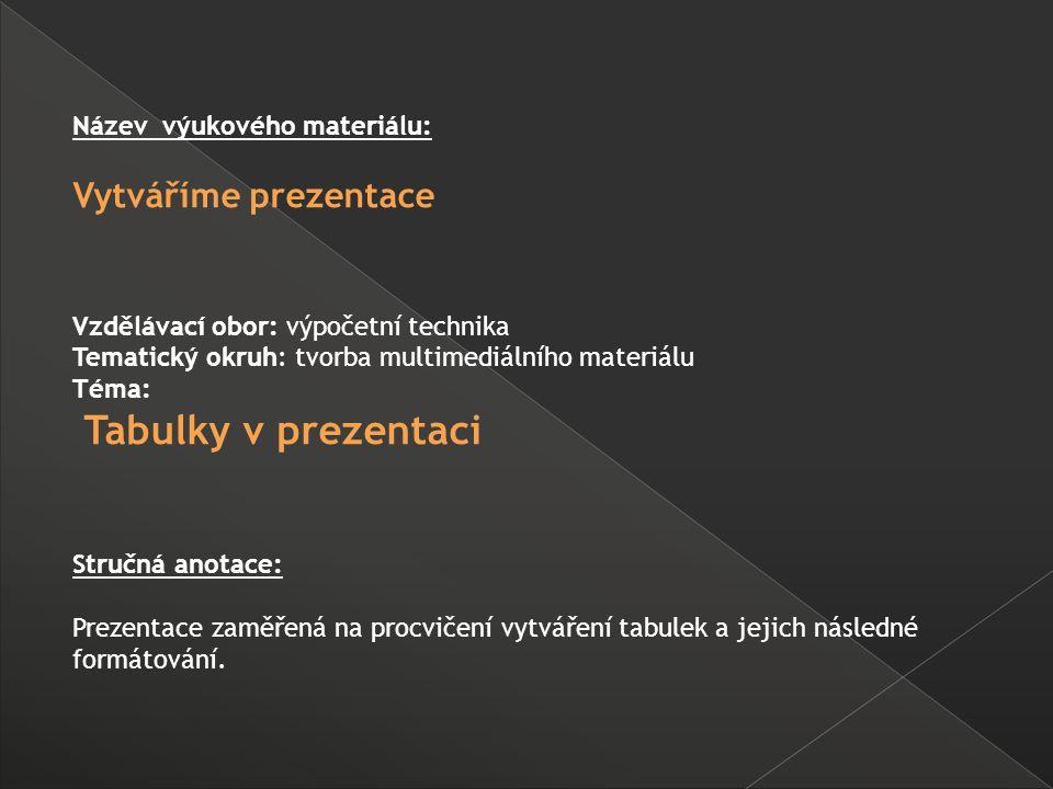 Název výukového materiálu: Vytváříme prezentace Vzdělávací obor: výpočetní technika Tematický okruh: tvorba multimediálního materiálu Téma: Tabulky v prezentaci Stručná anotace: Prezentace zaměřená na procvičení vytváření tabulek a jejich následné formátování.