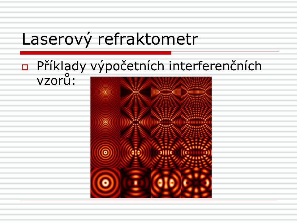 Laserový refraktometr  Příklady výpočetních interferenčních vzorů: