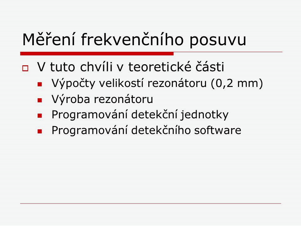 Měření frekvenčního posuvu  V tuto chvíli v teoretické části Výpočty velikostí rezonátoru (0,2 mm)  Výroba rezonátoru Programování detekční jednotky Programování detekčního software
