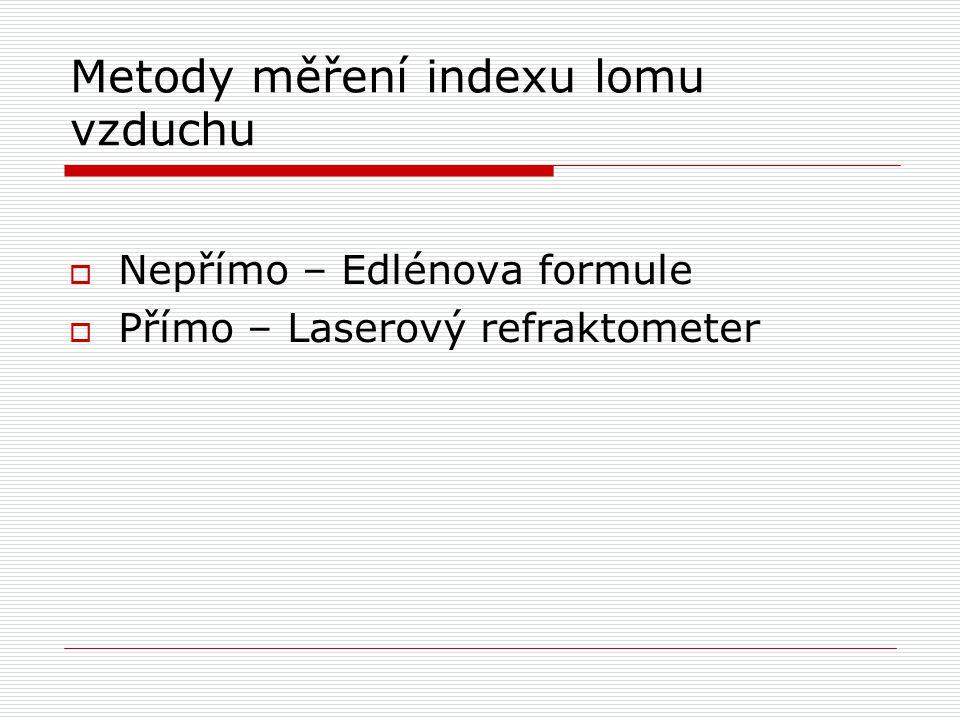 Metody měření indexu lomu vzduchu  Nepřímo – Edlénova formule  Přímo – Laserový refraktometer