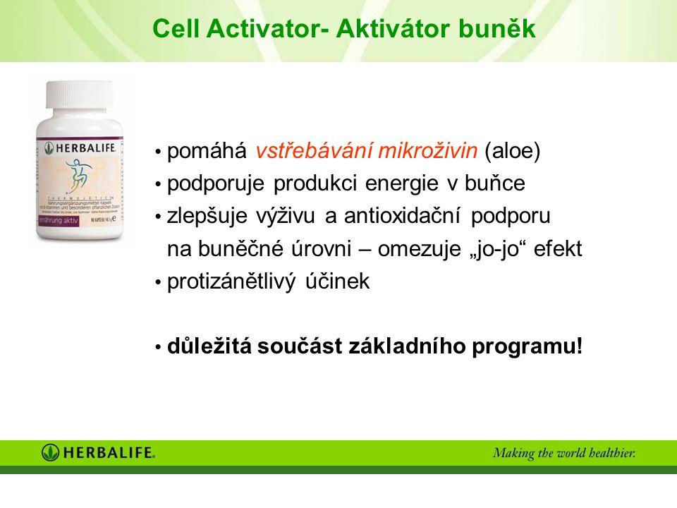 """Cell Activator- Aktivátor buněk pomáhá vstřebávání mikroživin (aloe) podporuje produkci energie v buňce zlepšuje výživu a antioxidační podporu na buněčné úrovni – omezuje """"jo-jo efekt protizánětlivý účinek důležitá součást základního programu!"""