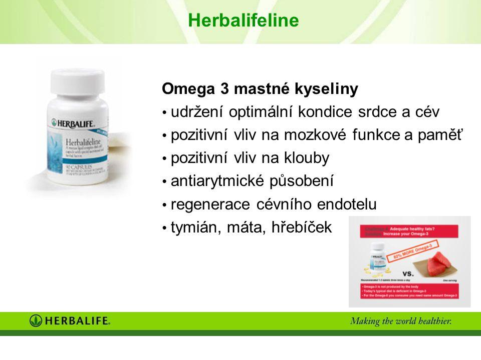 Herbalifeline Omega 3 mastné kyseliny udržení optimální kondice srdce a cév pozitivní vliv na mozkové funkce a paměť pozitivní vliv na klouby antiarytmické působení regenerace cévního endotelu tymián, máta, hřebíček