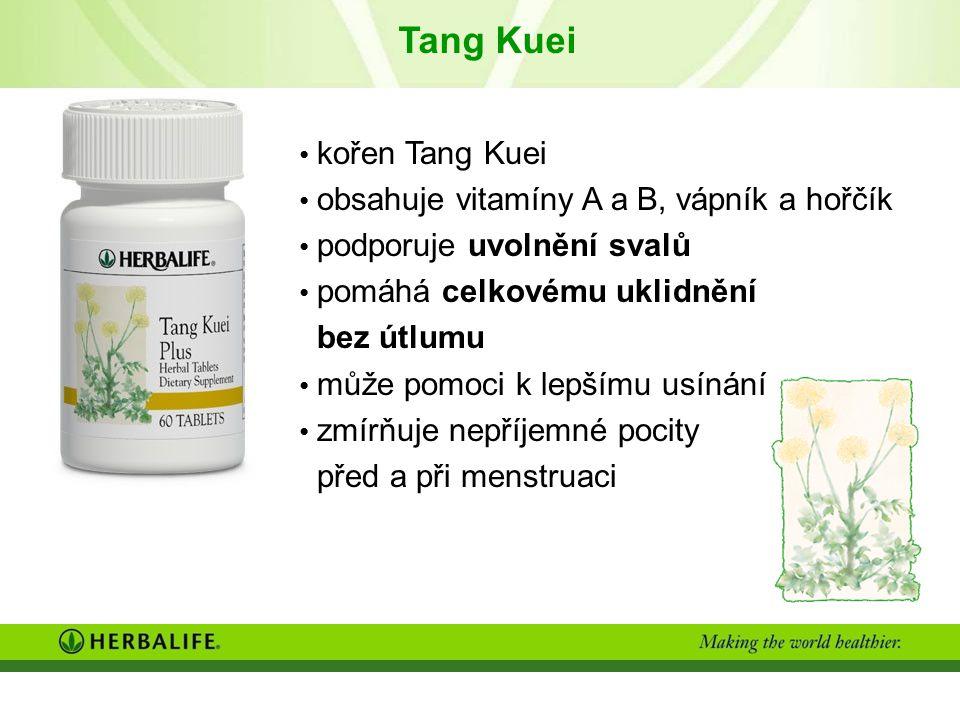 Tang Kuei kořen Tang Kuei obsahuje vitamíny A a B, vápník a hořčík podporuje uvolnění svalů pomáhá celkovému uklidnění bez útlumu může pomoci k lepšímu usínání zmírňuje nepříjemné pocity před a při menstruaci