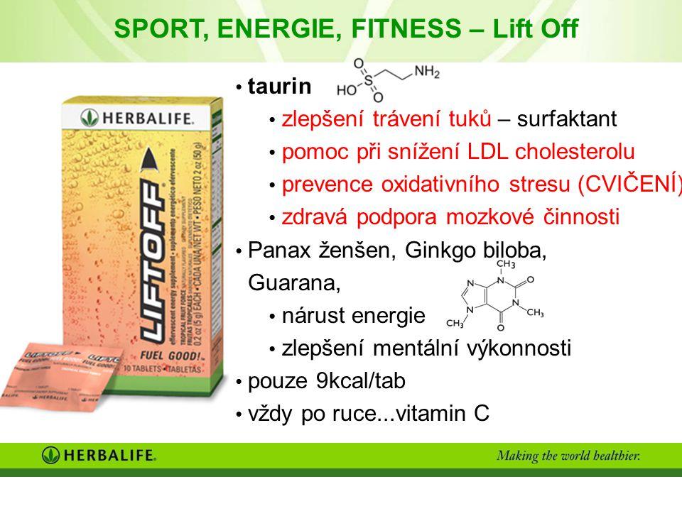 taurin zlepšení trávení tuků – surfaktant pomoc při snížení LDL cholesterolu prevence oxidativního stresu (CVIČENÍ) zdravá podpora mozkové činnosti Panax ženšen, Ginkgo biloba, Guarana, nárust energie zlepšení mentální výkonnosti pouze 9kcal/tab vždy po ruce...vitamin C SPORT, ENERGIE, FITNESS – Lift Off
