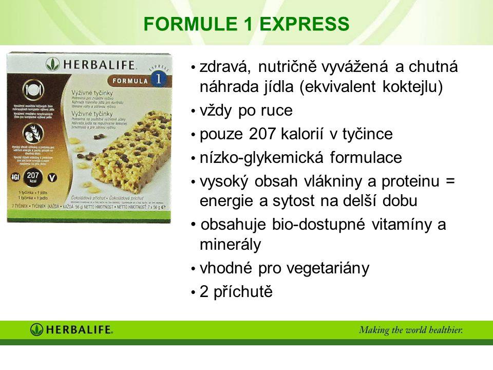 FORMULE 1 EXPRESS zdravá, nutričně vyvážená a chutná náhrada jídla (ekvivalent koktejlu) vždy po ruce pouze 207 kalorií v tyčince nízko-glykemická formulace vysoký obsah vlákniny a proteinu = energie a sytost na delší dobu obsahuje bio-dostupné vitamíny a minerály vhodné pro vegetariány 2 příchutě