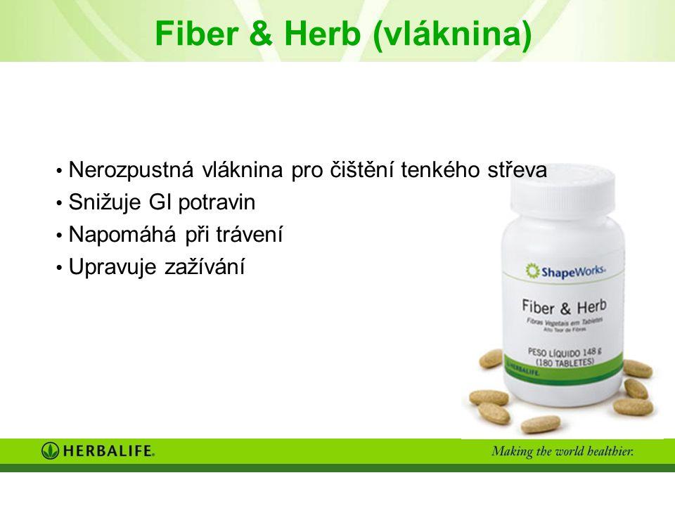 Fiber & Herb (vláknina) Nerozpustná vláknina pro čištění tenkého střeva Snižuje GI potravin Napomáhá při trávení Upravuje zažívání