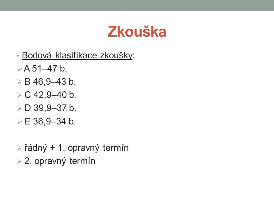 Zkouška Bodová klasifikace zkoušky:  A 51–47 b.  B 46,9–43 b.  C 42,9–40 b.  D 39,9–37 b.  E 36,9–34 b.  řádný + 1. opravný termín  2. opravný